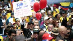 Manifestación en Bogotá contra el Gobierno de Santos (Foto: AFP).
