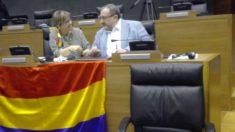 Diputados con la bandera republicana en el Parlamento navarro. (Foto: OKD)