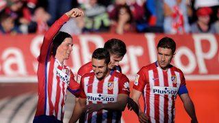 Fernando Torres, Koke, Saúl Ñíguez y Gabi celebran un tanto con el Atlético