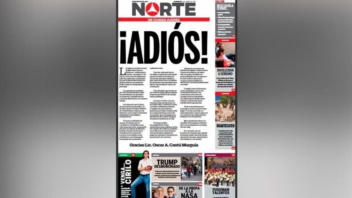 Última edición de 'Periódico Norte de Ciudad Juárez'.
