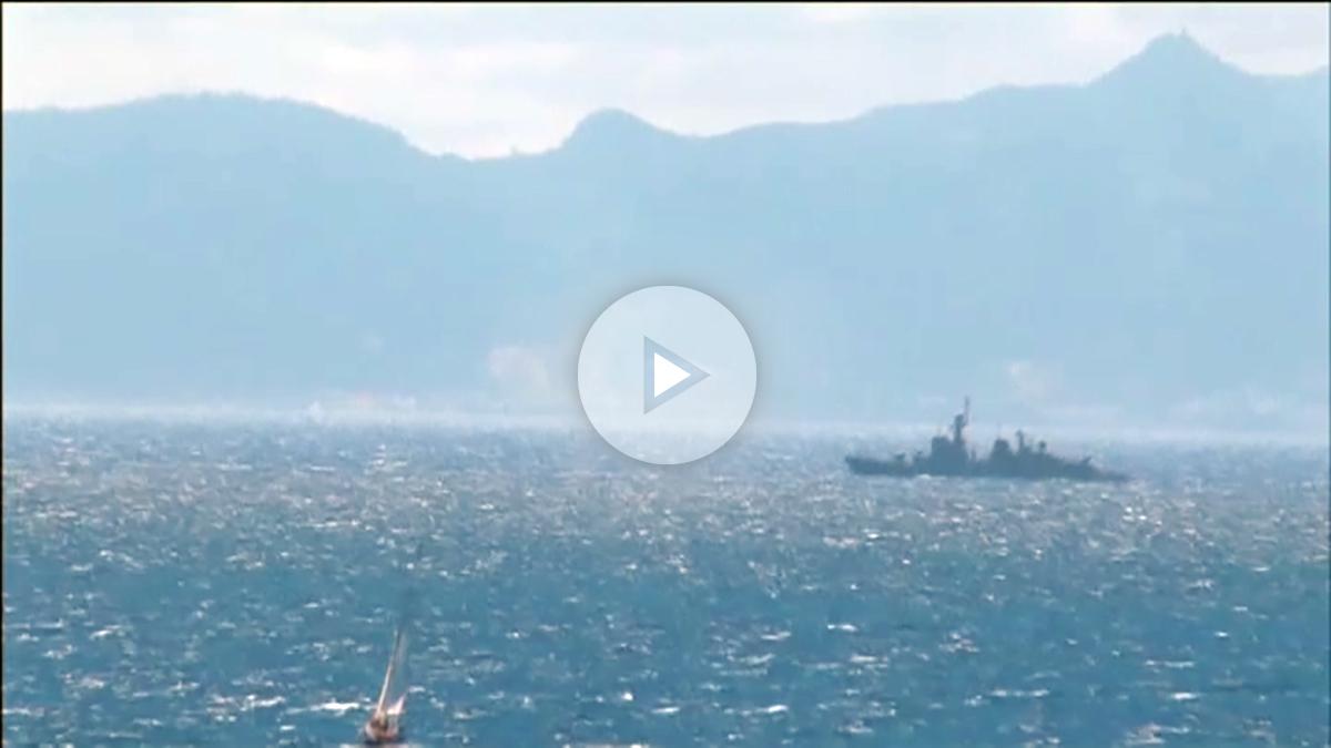 El 'Infanta Cristina' frente al Peñón en una operación de vigilancia rutinaria de los espacios marítimos de soberanía española