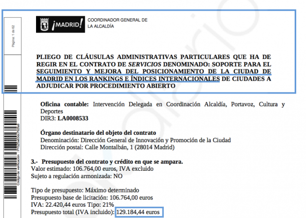 Carmena gasta otros 130.000€ en mejorar la reputación de Madrid