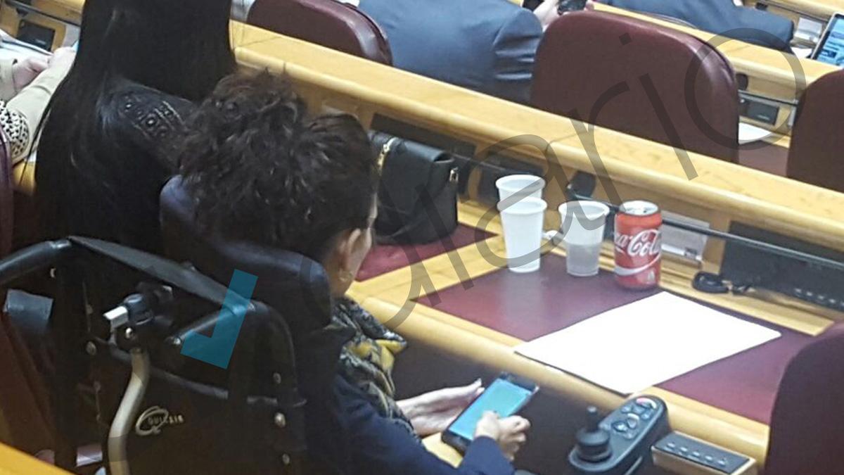 Senadora de Podemos bebiendo Coca-Cola en su escaño.