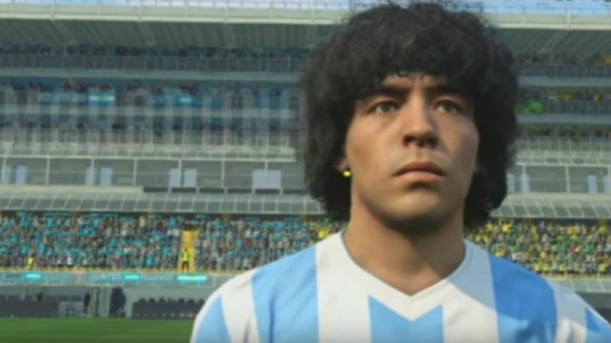 La imagen de Diego Armando Maradona en el famoso videojuego.