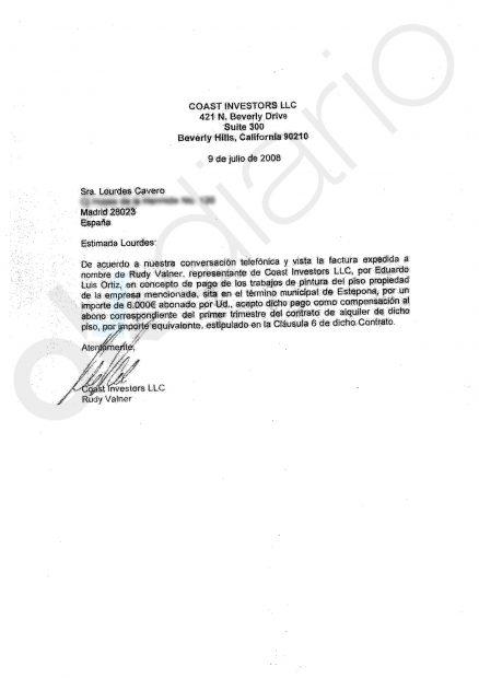 Carta de Rudy Valner a la esposa Ignacio González, Lourdes Cavero.
