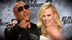 Charlize Theron y Vin Diesel, en la presentación de 'Fast & Fuious 8'. (AFP)
