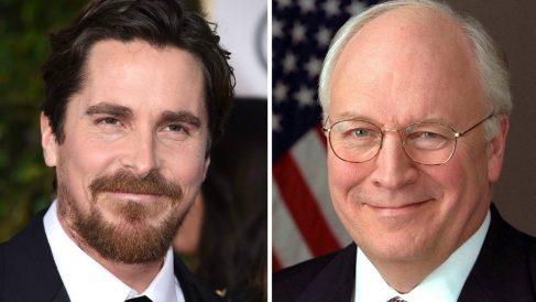El actor Christian Bale (izqda) junto una foto del ex vicepresidente al que dará vida, Dick Cheney.