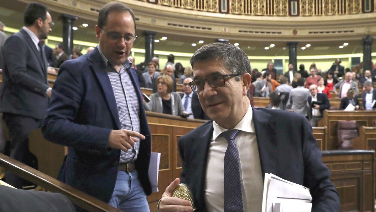 Los diputados socialistas Patxi López (d) y César Luena (Foto: Efe)