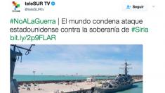 La TV chavista asesorada por Podemos difunde los mensajes de «No a la Guerra» contra Trump.