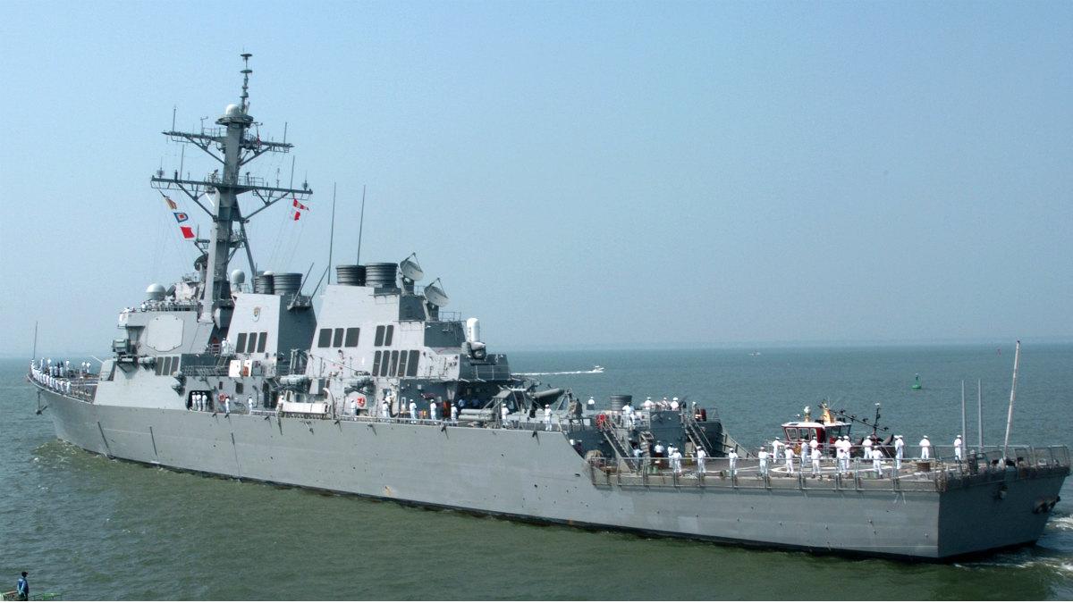 El buque destructor 'USS Ross', que ha participado en el ataque en Siria, y cuya base está en Rota.