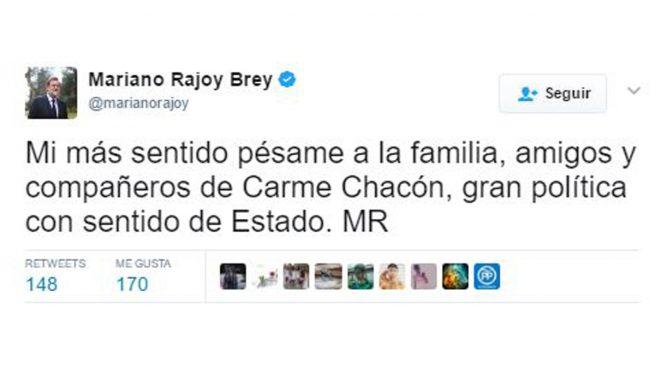 El presidente Rajoy, compañeros y rivales políticos despiden a Carme Chacón