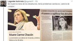Legarder ataca en Twitter a la ex ministra Carme Chacón tras conocerse su fallecimiento