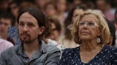 Pablo Iglesias y Manuela Carmena, en un acto de la campaña de las elecciones municipales (Foto: Ahora Madrid).
