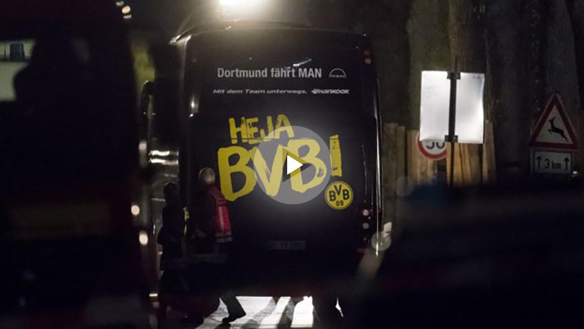 El autobús del Dortmund fue atacado. (AFP)
