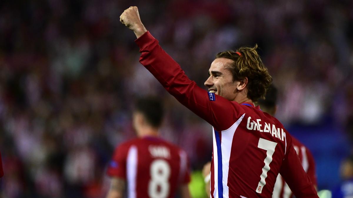 Antoine Griezmann celebra su gol ante el Leicester. (AFP)