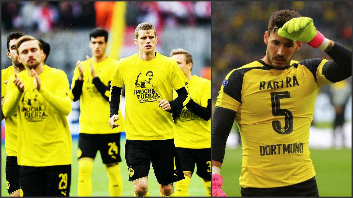 El Dortmund calentó con camisetas de apoyo a Bartra.