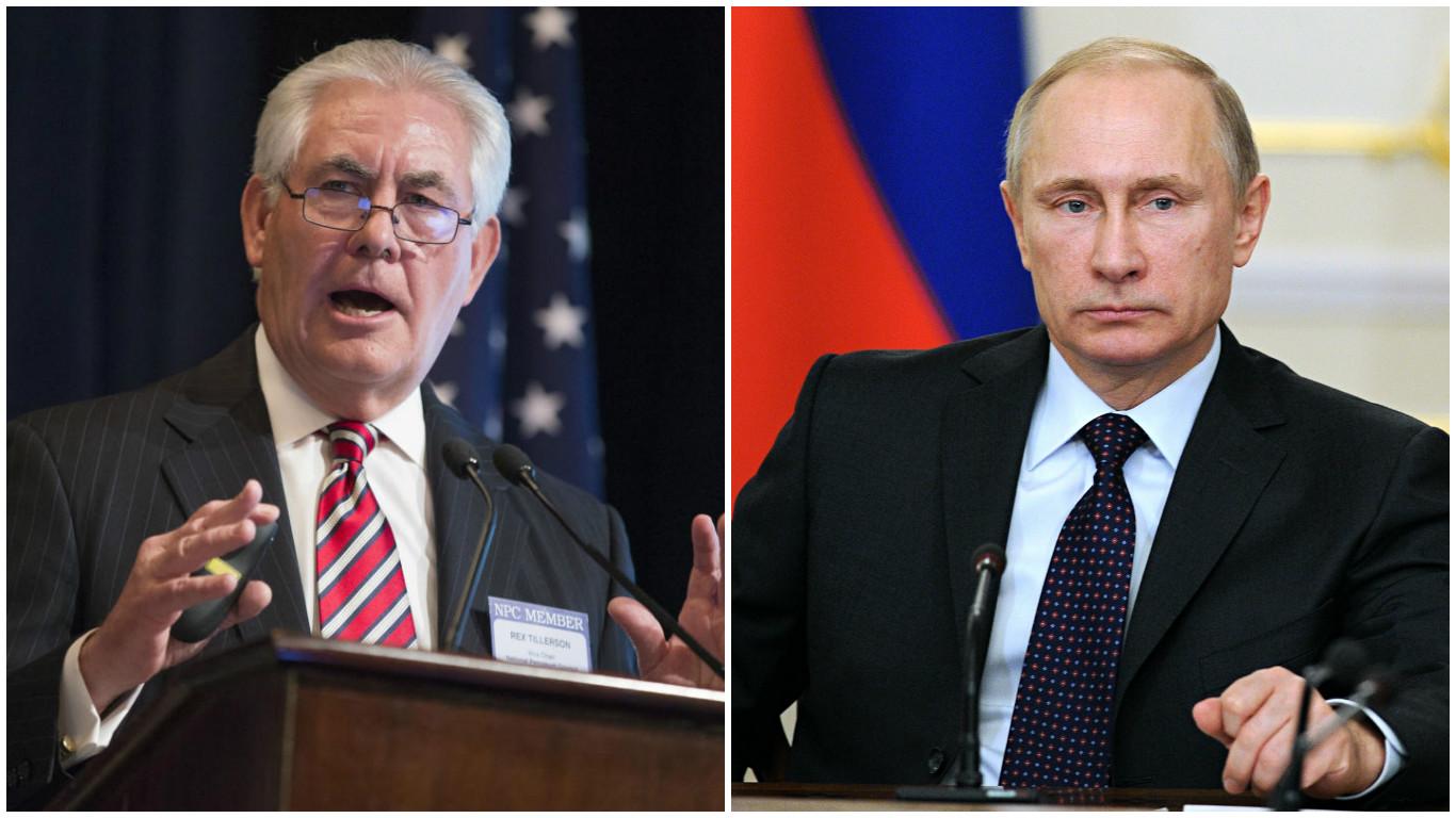 Rex Tillerson y Vladimir Putin.