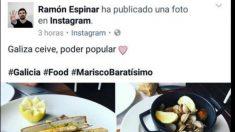 El senador de Podemos presume en Instagram de la mariscada que se ha comido.