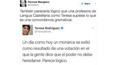 Percival Manglano le corrige a Teresa Rodríguez un error de concordancia gramatical.
