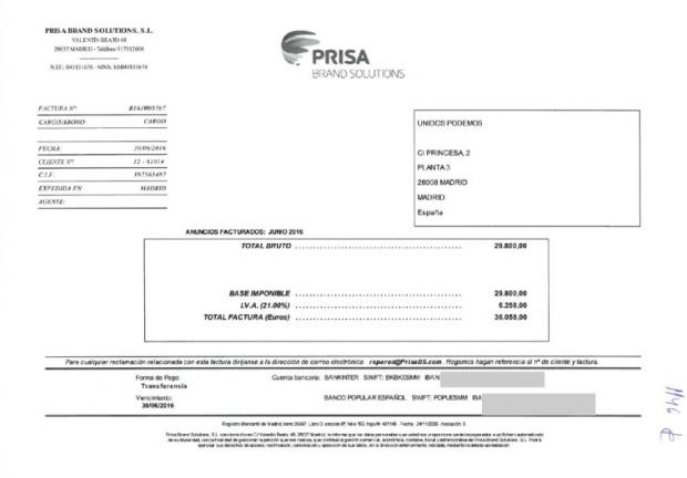 Factura del grupo Prisa emitida a Unidos Podemos por la contratación de cuñas publicitarias en La Ser. Foto: @joekopiki