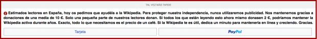 Wikipedia afronta problemas económicos y pide donaciones a la desesperada para sobrevivir