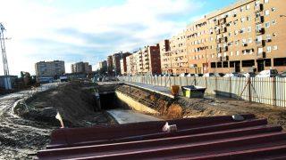 Obras de construcción del tren que debía unir Móstoles con Navalcarnero.