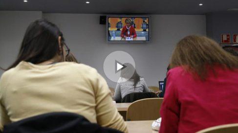 Imagen de la sala de prensa de la Audiencia Nacional, durante la comparecencia de la expresidenta madrileña Esperanza Aguirre, como testigo en el macrojuicio de Gürtel,. Foto: EFE