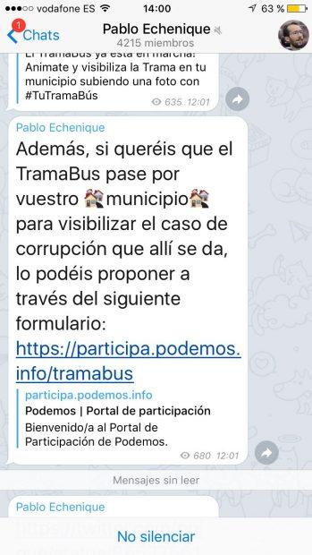 Pantallazo del canal de Telegram de Echenique