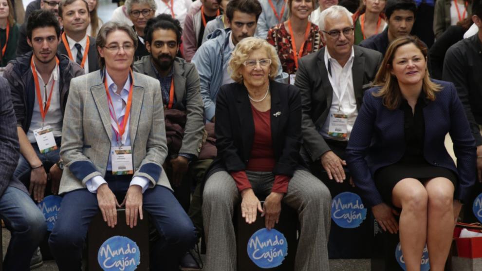 La alcaldesa Carmena este viernes en la clausura del Foro de la Paz. (Foto: Madrid)