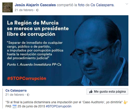 Un concejal de C's en Murcia imputado se niega a dimitir