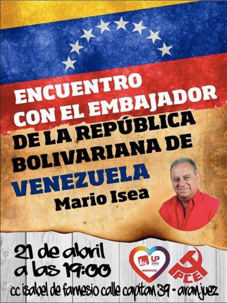 IU organiza una charla con el embajador de Venezuela en plena represión de la dictadura chavista