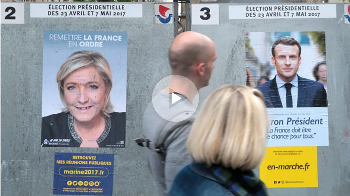 Le Pen y Macron lideran las encuestas para las presidenciales francesas. (Getty)