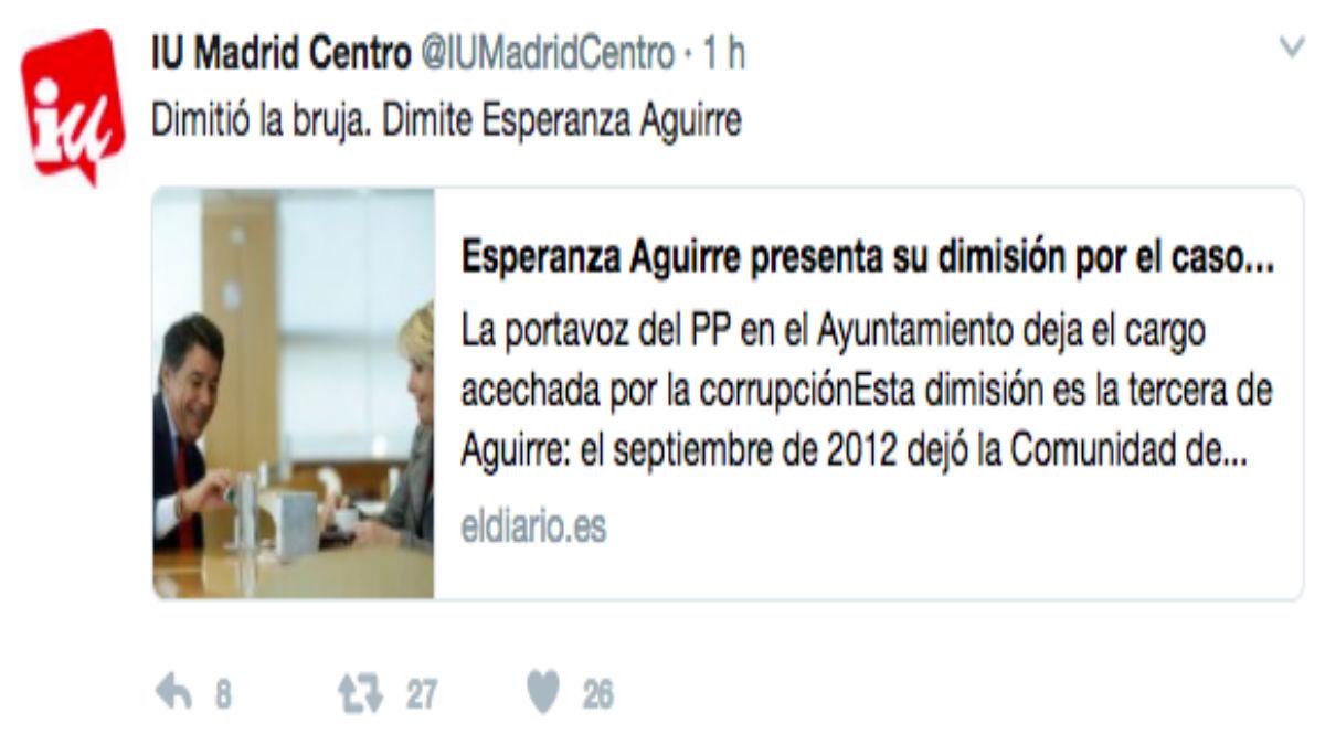 'Tuit' de IU tras la dimisión de Esperanza Aguirre.
