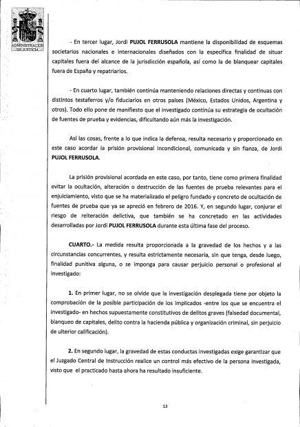 Auto del juez José de la Mata sobre Jordi Pujol Ferrusola.