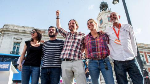 Irene Montero, Ramón Espinar, Pablo Iglesias, Lorena Ruiz-Huerta y Jesús Montero, líder de Podemos en la capital. (Foto: Flickr)
