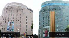 El Corte Inglés de Plaza Catalunya (Barcelona) en la Hispanidad (izq) y en la festividad de Sant Jordi (dcha).