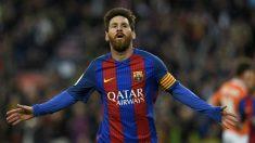 Leo Messi celebra el primero de sus goles. (AFP)