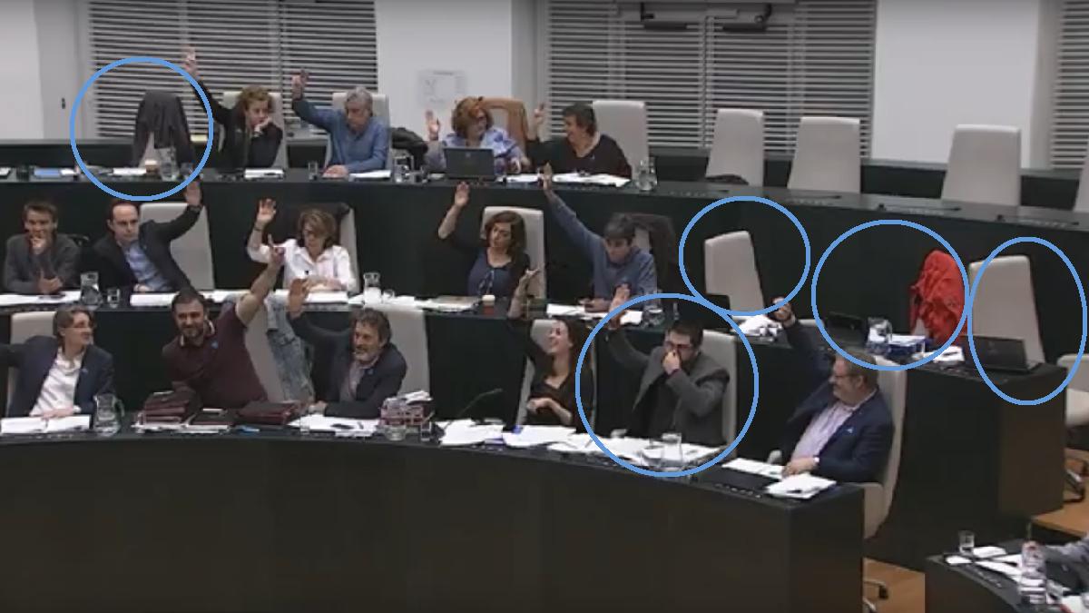 Ausencia de cuatro ediles y Sánchez Mato votando con la nariz tapada. (Foto: YT)