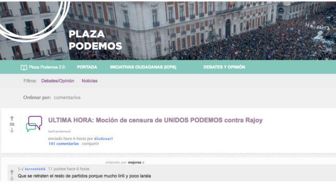 """Las bases de Podemos contra la moción de censura: """"Electoralismo barato y fuegos de artificio"""""""