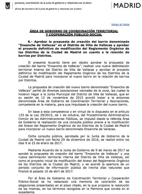 Carmena crea el barrio 'Ensanche de Vallecas' en contra de lo que votaron los ciudadanos
