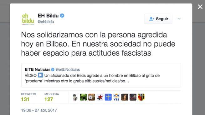 El cinismo de Bildu: condena la agresión de Bilbao y sigue apoyando a los violentos de Alsasua