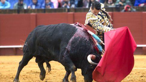 José María Manzanares en su primer toro de este viernes en Sevilla (Foto: Efe).