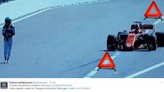 La Policía de Valencia hizo un ingenioso montaje con el abandono de Fernando Alonso.
