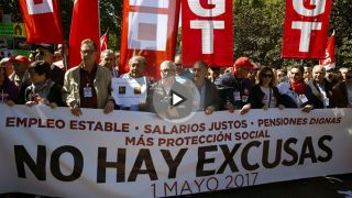 Los líderes de CCOO y UGT, Ignacio Fernandez Toxo y Pepe Álvarez encabezan la manifestación del 1 de mayo (Foto: EFE).