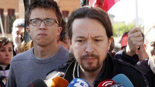 Errejón ha sustituido este primero de mayo a Irene Montero o a Alberto Garzón como 'segundo' para la foto con Iglesias. EFE