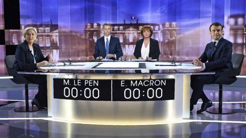 Debate presidencial entre Emmanuel Macron y Marine Le Pen (Foto:AFP)