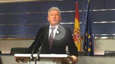 Pedro Quevedo en rueda de prensa en el Congreso. (Foto: Nuria Val)