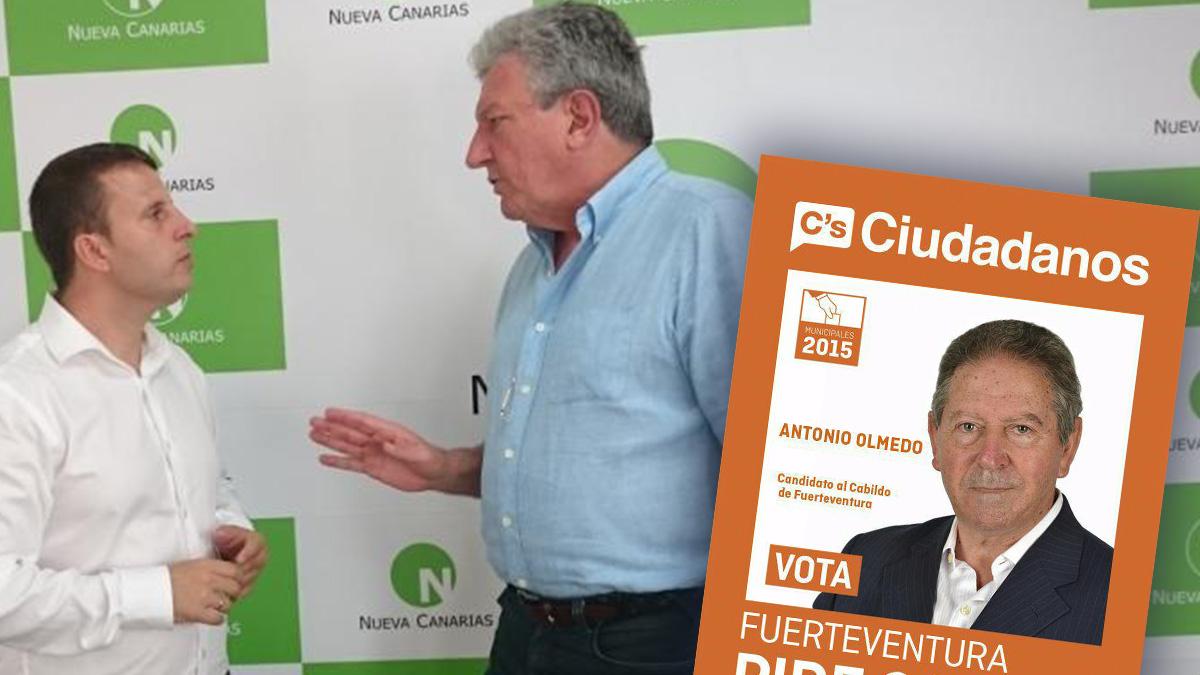 Alejandro Jorge Moreno junto a Pedro Quevedo (Nueva Canarias). A la derecha, el candidato de Ciudadanos Antonio Olmedo.
