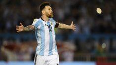 Messi celebra un gol con Argentina. (AFP)