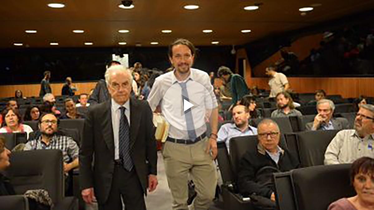 Pablo Iglesias y Mario Tronti (Foto: Twitter Podemos)